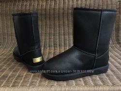 40- 46 р Угги UGG черные мужские ботинки дутики эко кожаные