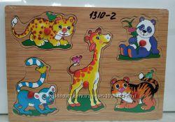 Деревянные рамки вкладыши животные 1310