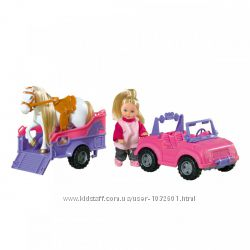 Распродажа - ева с джипом трейлером и конем от simba еви штеффи