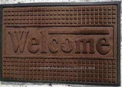 Коричневый коврик придверный 60х90 см Welcome квадратики, 3431