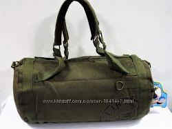 Дорожная сумка-рюкзак брезентовая хаки