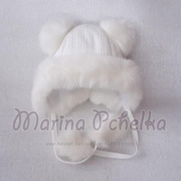 Красивые шапочки для девочки на завязках с бубоном зима р 44-50 РАЗные