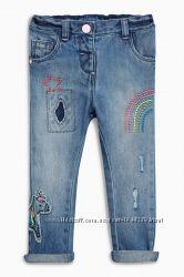 Декорированные джинсы NEXT некст с единорогом в новом состоянии, 5-6 лет