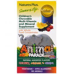 Nature&acutes Plus, Жевательные таблетки для детей с мультивитаминами, 180