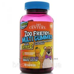 21st Century, Zoo Friends желейки детские мультивитамины 150 шт