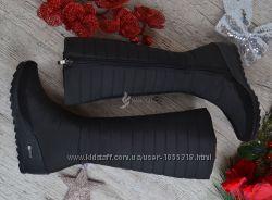 5d9beb1a65ef Дутики женские высокие зимние сапоги черные Classic Chic на танкетке