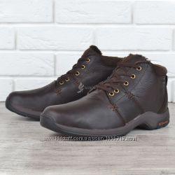 Ботинки мужские кожаные зимние на меху Columbia style темно-коричневые на ш