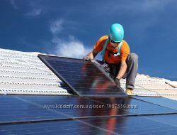 Монтаж сонячних електростанційбатарей. Солнечные батареиэлектростанции.