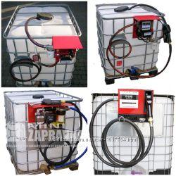 Мини АЗС 12, 24, 220V 30, 50, 56, 70, 75лмин на базе еврокуба для дизтоплива