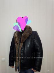 Дубленка куртка, мех волка и песец воротник 56-58 р