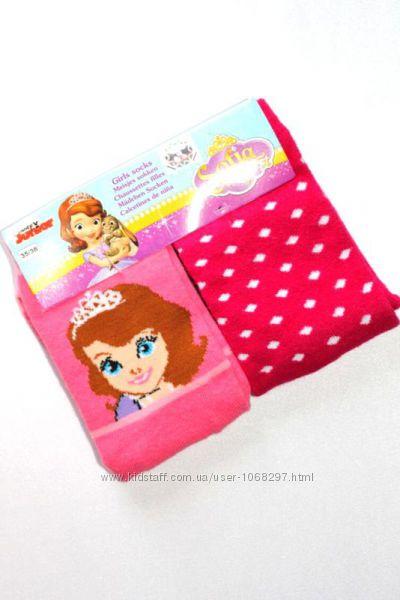 Комплект 2 пары, яркие коттоновые подростковые носки Disney, София, 35-38