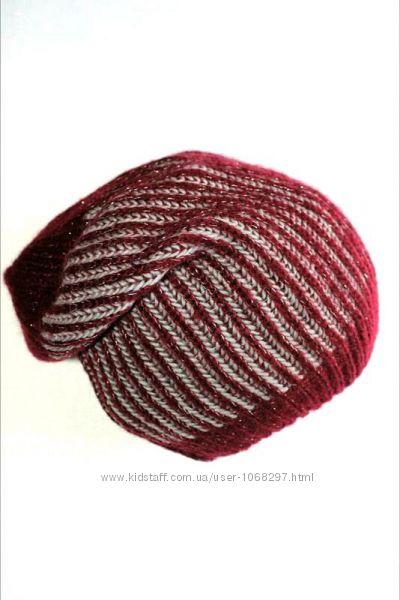 Мягенькая теплая  шапка бини марсала с блеском, Takko Fashion. 8-15 лет