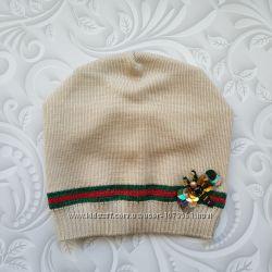 Демисезонная шапка бини для девочки в стиле Gucci