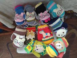 Варежки рукавички рукавицы с игрушками перчатки детские разные цвета