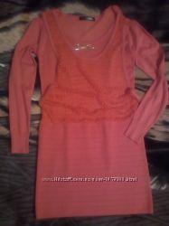 Трикотажное тёплое платье