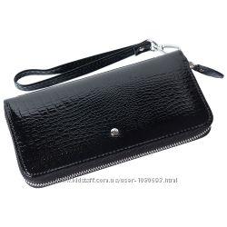 Женский кожаный кошелек лаковый f. leather collection al-ae38-1 черный