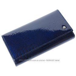Женский кожаный кошелек лаковый f. leather collection al-ae46 d. blue синий