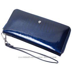 Женский кожаный кошелек лаковый F. Leather Collection AL-AE38 Темно-синий