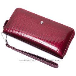 Женский кожаный кошелек лаковый F. Leather Collection AL-AE38 Бордовый