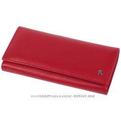 Качественный женский кошелек из телячьей кожи красный AL-B150RED