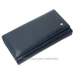 Женский кожаный кошелек f. leather collection al-w46 d. blue темно-синий