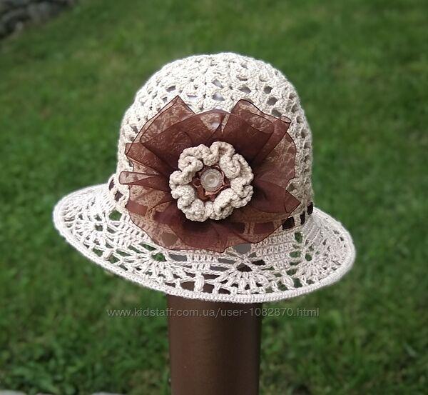 Шляпка ручной работы панамка на девочку 46-48