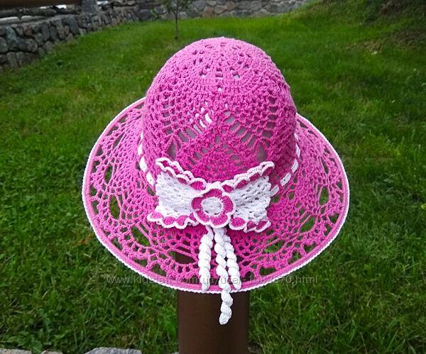 Шляпка ручной работы панамка на девочку 48 размера