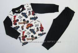 Трикотажная детская Пижама для мальчика Спецтехника чёрная рост 92-128 см