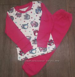 Трикотажная детская Пижама для девочки Котики малиновая Рост 92-98 см