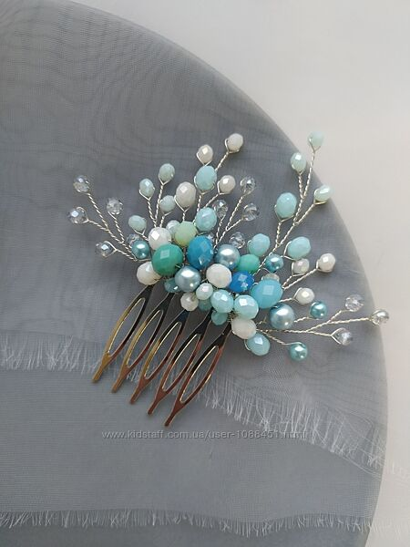 Украшение в прическу в морском стиле свадебный гребень голубой