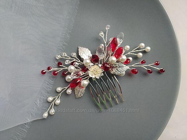 Свадебное украшение в красном цвете свадебный гребень