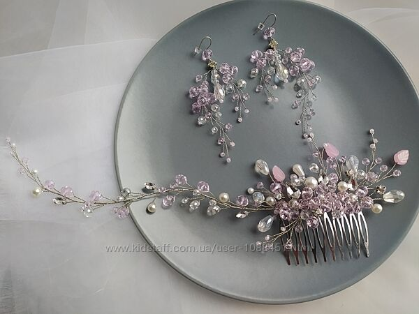 Свадебное украшение в розовом цвете свадебный гребень