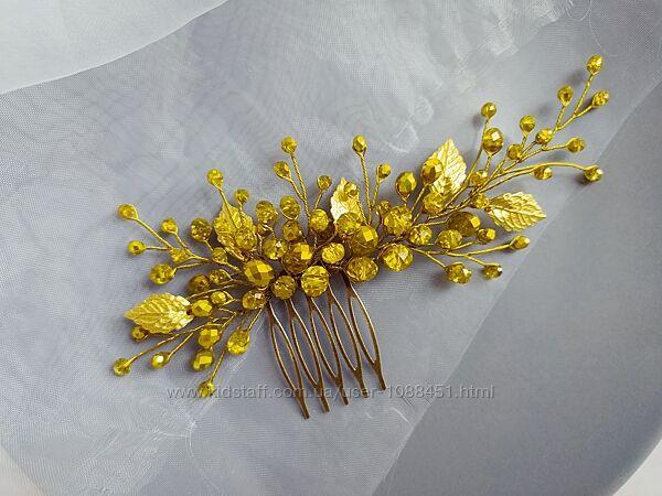 Золотой гребень украшение в прическу в греческом стиле