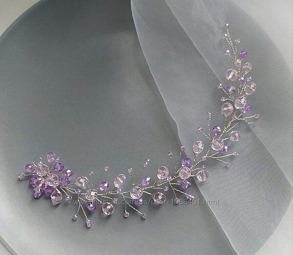 Украшение в прическу фиолетовое веточка в прическу Свадебное Украшение