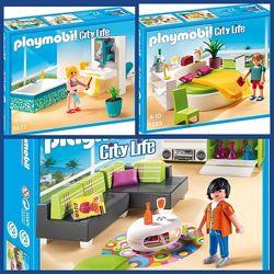 Playmobil 5577, 5583, 5584. Гостиная, спальня, ванная комнаты