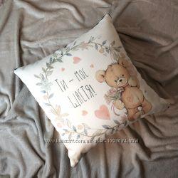 Подушка декоративная из мешковины 45х45