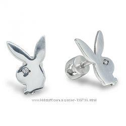 новые серьги на закрутках, пусеты серебро 925 пробы родирование