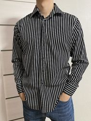 Чёрная рубашка в полоску, размер Xl