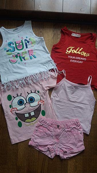 пакетом летние майки, футболка, шорты, р.128