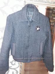 Куртка  жакет шерсть с брошью р xs-s