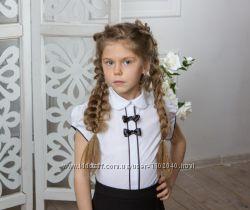Нарядная белая школьная блузка на девочку Размеры 122- 164