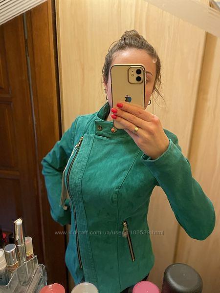 Новая замшевая кожаная яркая зелёная куртка косуха размер м l