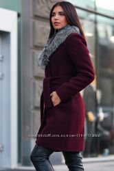 Шерстяное теплое зимнее пальто с поясом мех чернобурки шерсть 90 проц