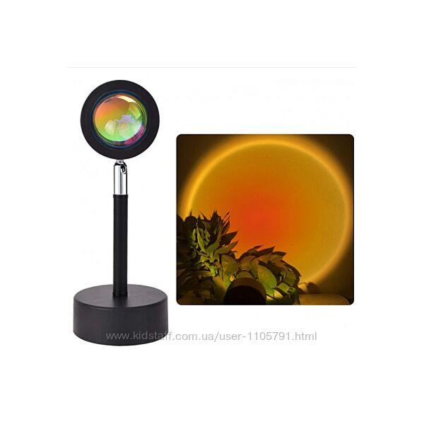 Проекционная лампа Sunset Lamp эффект заката / рассвета / радуга тик-ток