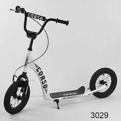 Самокат corso rush cr-t с надувными колесами двухколесный детский