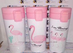 Термо чашка, термокружка фламинго с поилкой. не течет