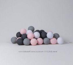 Тайские шарики фонарики хлопковые гирлянды 10, 20, 35, 50 шаров