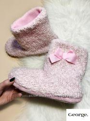 Теплые тапочки-носочки с бантиком твердая подошва для дома от бренда george