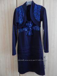Шикарный, нарядный комплект платье и болеро. украшено пайетками, 34 размер