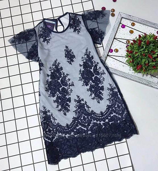 Платье ткань сетка с купонной вышивкой и трикотажная подкладка